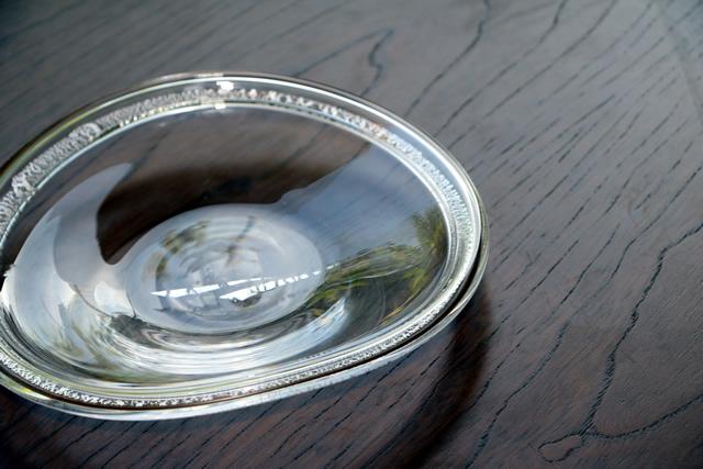 ガラス皿 吹きガラス 沖口こずえ  銀の輪皿