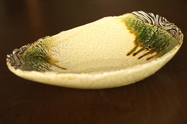 棚橋淳  大鉢  楕円鉢 黄瀬戸楕円鉢