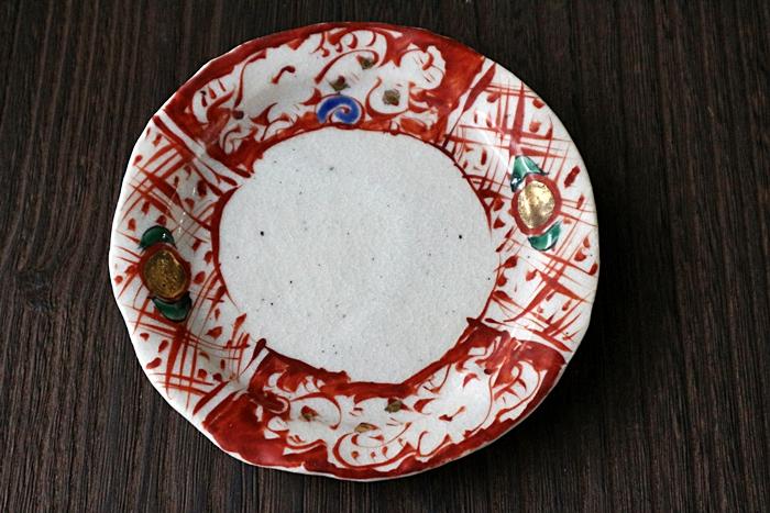 小皿 陶器 赤絵 榛澤宏