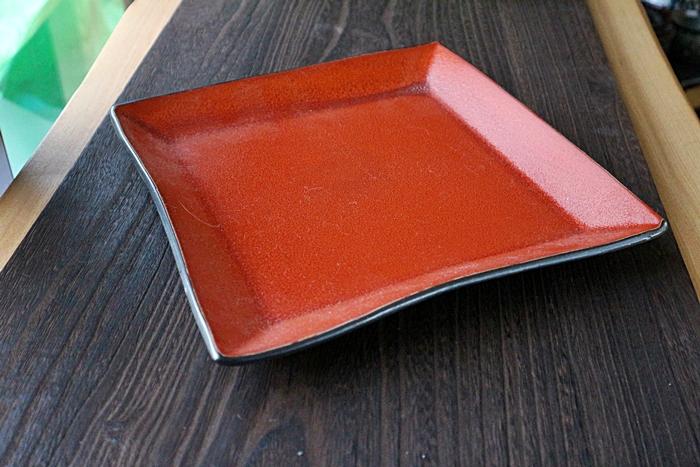 大皿 角皿 赤い 宗山窯 陶器